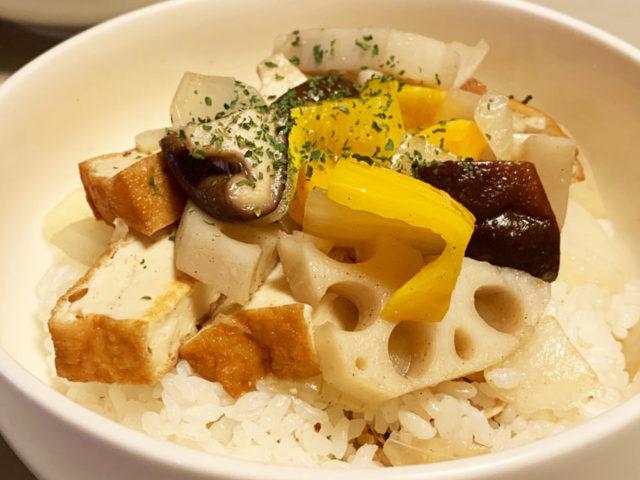 れんこん・しいたけ・厚揚げのナンプラー炒め丼【簡単レシピ|まゆげごはん】